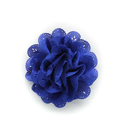 Navy Blue Eyelet Chiffon Hair Flower Clip