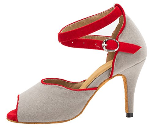 Suede Dance Tango Ballroom Peep Women's 8 Grey Latin 5cm TDA Salsa Ankle Strap Modern Buckle Wedding Toe Shoes Heel gAnwqY