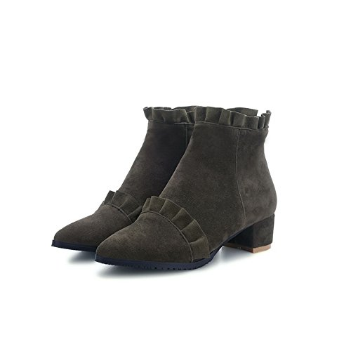 AdeeSu Girls Kitten-Heels Business Mule Imitated Leather Boots Army Green n4hzGEweC8