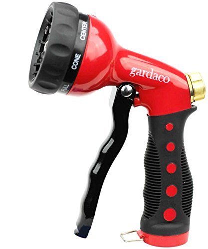 Garden Hose Nozzle EASY GRIP Water Hose Spray Nozzle – Heavy Duty All Metal With 8 Adjustable Patterns – Your Durable Hand Held Home And Garden Sprayer – High Quality Solves All Your Watering Needs