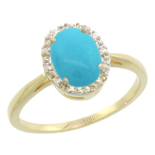 Silver City Jewelry 14K Yellow Gold Natural Diamond Sleeping Beauty Turquoise Halo Ring Oval 8X6mm, 1/2 inch Wide, Size 6