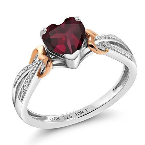 Gem Stone King 925 Silver & 10K Rose Gold Diamond Ring 0.73 Ct Heart Shape Rhodolite Garnet (Size 5)