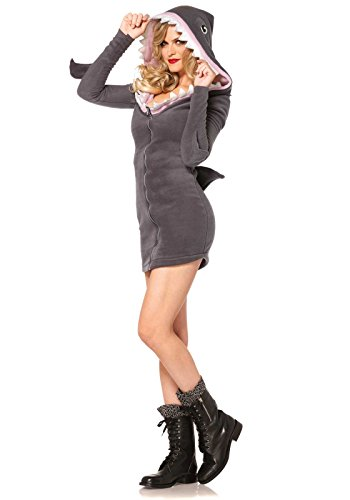 Cozy Shark Adult Costumes (Leg Avenue Women's Cozy Shark Costume, Grey, Small)
