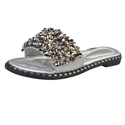 Pull Rhinestone Flat (Cenglings Women's Open Toe Shiny Rhinestone Slippers Beach Shoes Beading Flat Non-Slip Beach Sandals Silver)
