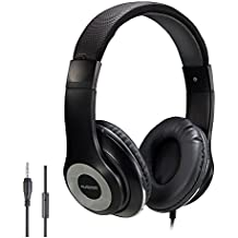 AUSDOM Over-Ear Headphones, Stereo Lightweight Adjustable Wired Headset with Mic, Noise Isolating Comfortable Leather Earphones, Hi-Fi Deep Bass for iPhone iPod iPad Macbook MP3 Cellphone Laptop-Black
