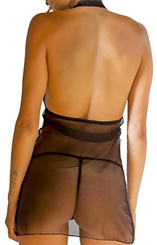 HO-Ersoka minivestido de noche transparente de tul y encaje con espalda abierta y tanga incluido negro