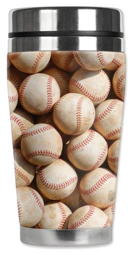 Mugzie Old Baseballs Travel Mug with Insulated Wetsuit Cover, 16 oz, Black
