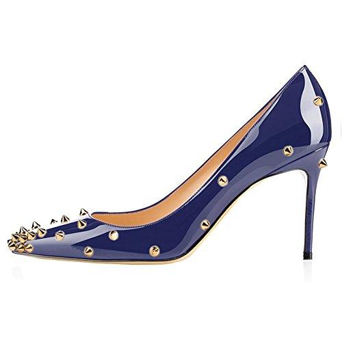 Merumote Scarpe Da Donna Rivetti Scarpe Con Tacco Medio A Punta Tinta Abito Pompe Blu Con Rivetti Doro