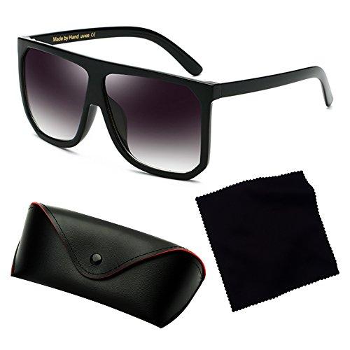 Gafas Marco de de UV400 Hombre tamaño Top con moda protección Plaid sol juqilu plástico de C7 Flat de gran Mujer dqFOwnXa