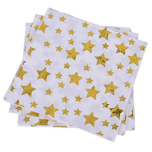 wise buy White Paper Napkins with Gold Stars for Party, Dinner, Wedding, Cocktail and All Other Occasions, Super Saving Package 100 pcs Pack, Size 6.5/6.5