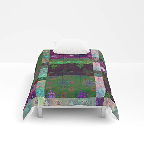 Society6 Comforter, Size Twin XL: 68'' x 92'', Lotus Flower Green and Maroon Stitched Patchwork - Woodblock Print Style Pattern by evalundbergline by Society6 (Image #1)