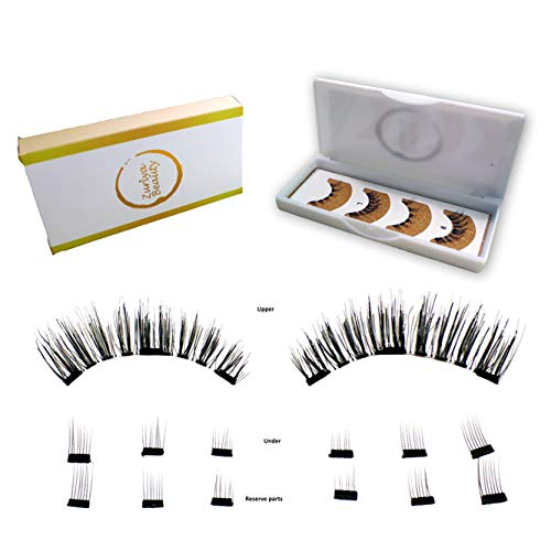 Magnetic false eyelashes upgraded natural look |  Premium lighweight, Reusable 3d lashes, Full eye, No glue, Grade A+ silk, 14 pcs with 6 spare bottom ()