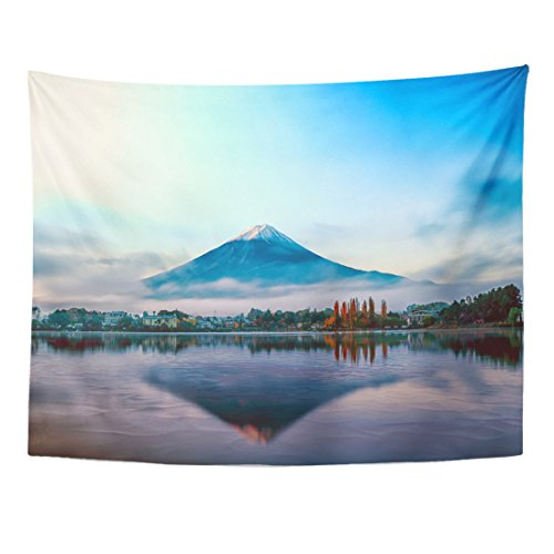 TOMPOP Tapestry Blue Mount Mt Fuji in the Early Morning with Reflection on Lake Kawaguchiko Japan Travel Home Decor Wall Hanging for Living Room Bedroom Dorm 60x80 Inches