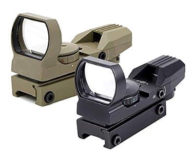 Ohuhu Red Dot Sight, 4 Reticles Red Green Dot Gun Sight Scope Reflex Sights, Black/Sand