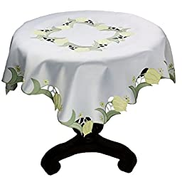 Xia Home Fashions Spring Tulip Embroidered Cutwork Spring Table Topper, 36 by 36-Inch