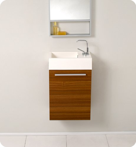"Fresca Bath FVN8002TK Pulito Small Vanity with Tall Mirror, Teak - Dimensions of vanity: 15.5""W x 8.5""D x 24.75""H Dimensions of mirror: 15.75""W x 47.75""H x 2""d Materials: MDF with acrylic countertop/sink with overflow - bathroom-vanities, bathroom-fixtures-hardware, bathroom - 41oyn5Z%2BbjL -"