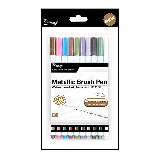 Large Product Image of Bianyo Metallic Brush Marker Pens, 10 Colors Calligraphy Pens for Coloring Drawing Lettering