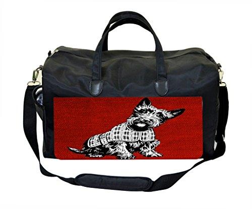 - Scottish Terrier on Red Grunge Print Design Gym Bag