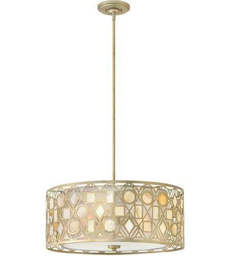 Light Ceiling Providence Leaf - Chandeliers 3 Light with Silver Leaf Finish Steel Material Medium Base 24 inch 300 Watts