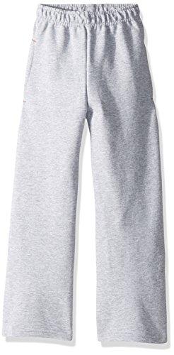 Fruit of the Loom Boys' Big Fleece Open Bottom Sweatpant, Athletic Heather/Smoke Blue Stripe, Large