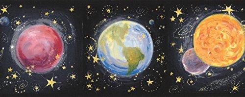 - Solar System Planets on Black Wallpaper Border for Kids Bedroom Bathroom, Roll 15' x 4.5''