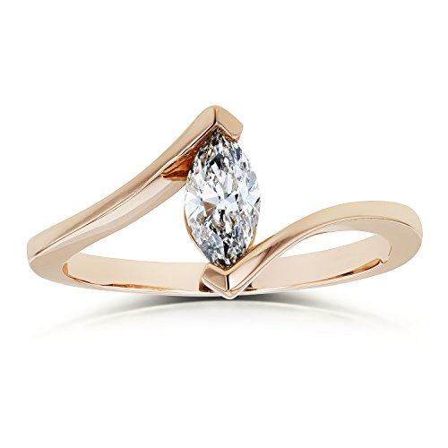 1/2 Ct Marquise Solitaire - 1/2 Carat Solitaire Marquise Diamond Chevron-prong Engagement Ring in 14k Rose Gold (Certified), 7
