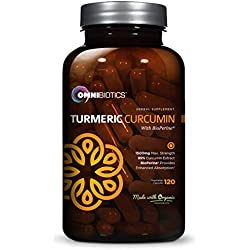 Organic Turmeric Curcumin Supplement 1500mg with BioPerine | 95% Standardized Curcuminoid Extract & Organic Root Powder with Piperine Black Pepper Fruit (10mg), 120 Vegetarian Capsules