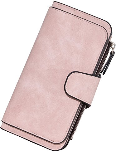 Fabric Wallet Clutch - Yuhan Pretty PU Leather Wallets for Women Long Card Purse Clutch with Zip Pocket (Pink)