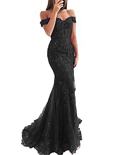 YSMei Lace Mermaid Tulle Prom Dresses Off Shoulder Long Beaded Formal Party Gown Black 08
