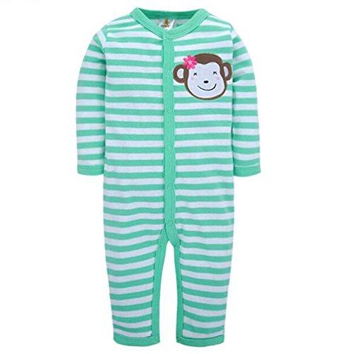 Fairy Baby Baby Boy Girl Stripe Cotton Long Sleeve Footless Strechie Sleeper Pajamas,9-12M,Green