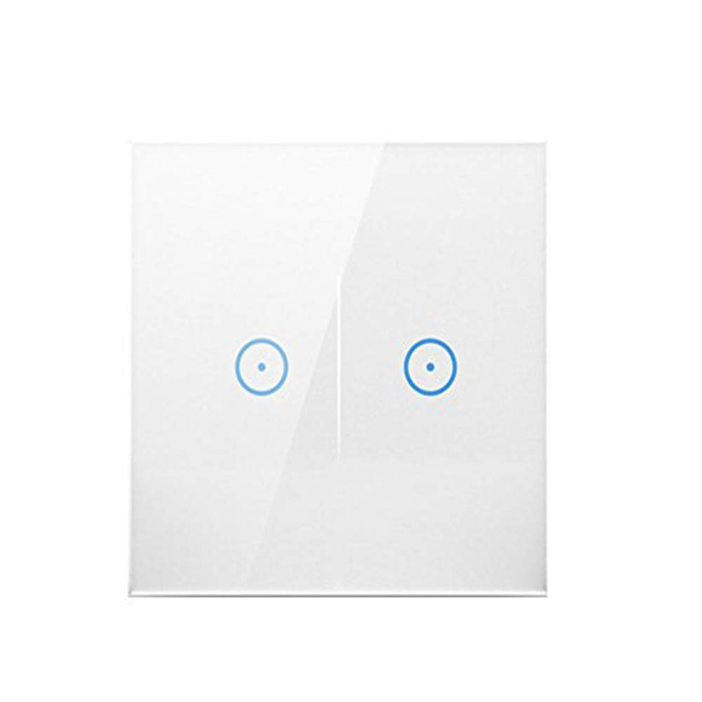 Elecstars American home smart switch, transparent glass covered white switch and easy to clean2-gang, Touch Control Light Switch VL-C302-81 with LED indicator.