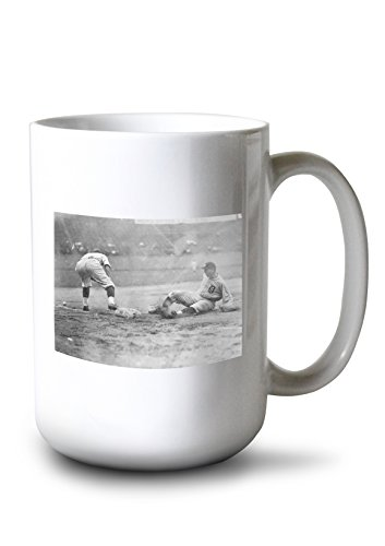 Lantern Press Detroit Tiger Playing Sliding into Third Base Baseball - Vintage Photograph (15oz White Ceramic Mug)