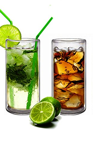 Double Wall Cocktail (Sun's Tea(TM) (Set of 2) 20oz Ultra Clear Strong Double Wall Insulated Thermo Glass Tumbler V3 Highball Glass for Beer/cocktail/lemonade/iced Tea (Real Borosilicate Glass, Not Plastic))