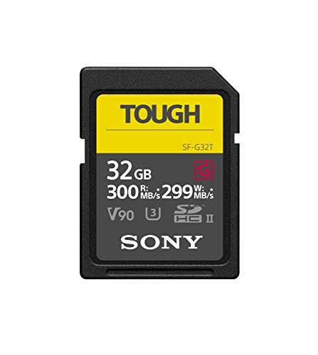 - Sony Tough High Performance 32GB SDXC UHS-II Class 10 U3 Flash Memory Card with Blazing Fast Read Speed up to 300MB/s (SF-G32T/T1)