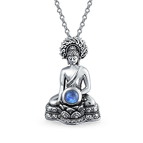 Rainbow Moonstone Amulet Thai Sitting Buddha Pendant Necklace For Women For Teen Oxidized 925 Sterling Silver With Chain