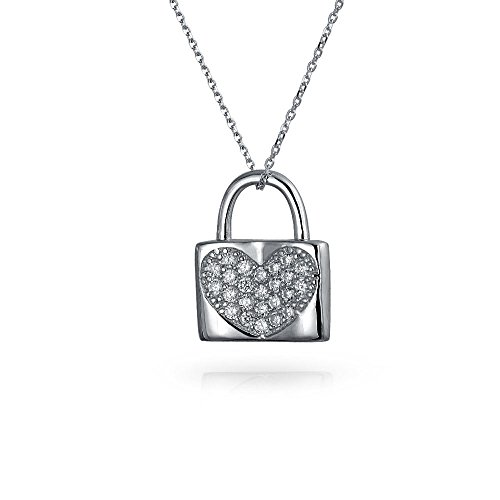Pave Heart Lock (Bling Jewelry 925 Sterling Silver CZ Pave Heart Lock Pendant Necklace)