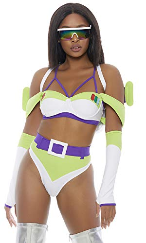 Forplay Women's to Infinity Sexy Astronaut Movie Character Costume, White, ()