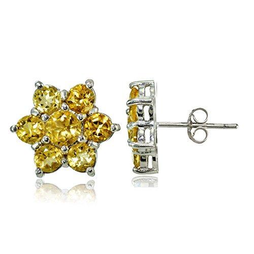 (Sterling Silver Genuine Citrine Flower Stud Earrings)