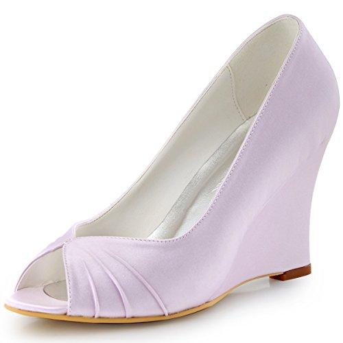 ElegantPark EP2009 MujerCuña Tacón alto Peep Toe Fruncido Satén Zapatos de Boda Lavanda