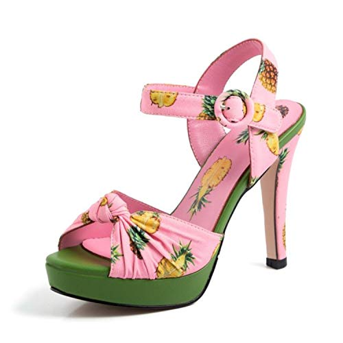 Ashley-OU Fashion Print Women Sandals Buckle Platform High Heels Shoes Summer Shoes Women Size 34-40,Pink,4 ()