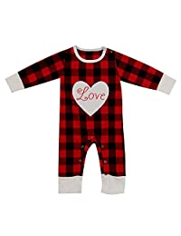 Baby Boy Girl Check Jumpsuit—Cute Love Black and Red Plaid Romper Outfit Clothes