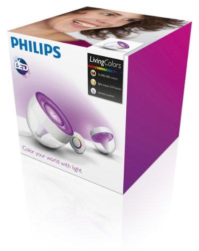 philips living colors iris eek a energiesparende led technologie mit 10 watt 16 millionen farben mit fernbedienung klar 7099960ph amazonde - Lampe Living Color