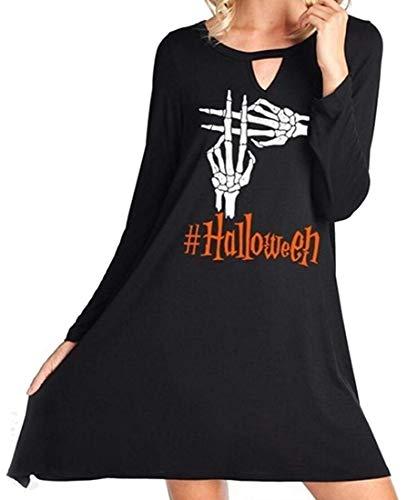 Pumpkin Dress for Women, Women's Cute Halloween Cartoon Printed Autumn Unique Dress Black XL ()