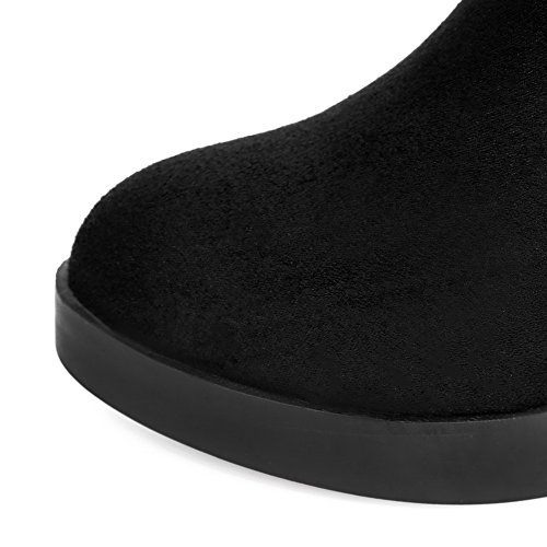 Frosted High Women's Allhqfashion Wedge with Decoration PU Heels Black Boots Metal and aqw7Zxw