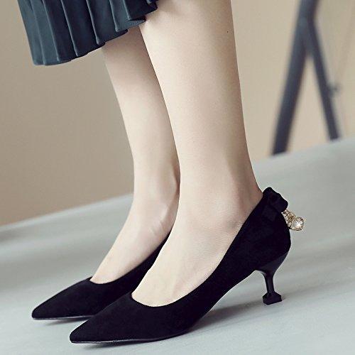 Xue Qiqi 5cm de alto talón zapatos femeninos zapatos con la punta fina de la pajarita beige boca superficial solo zapatos con baja Negro