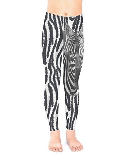 PattyCandy Toddler Girls Stretchy Dark Gray Zebra Print Pants Tights - 4