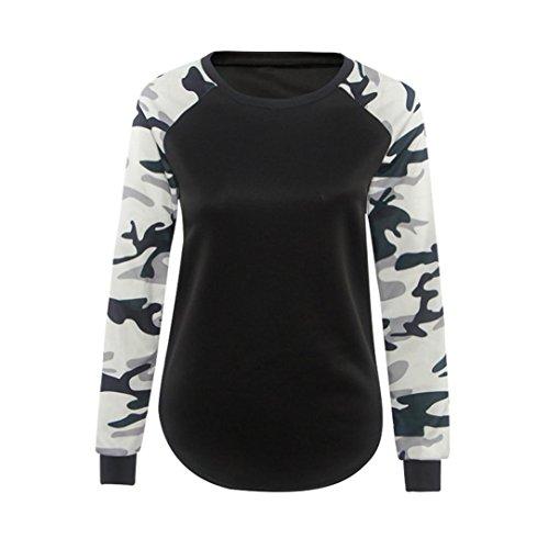 Ularmo Damen Herbst Winter Camouflage Hemd lässige Bluse Tops (M, Schwarz)