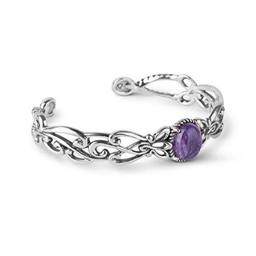 Carolyn Pollack Sterling Silver Charoite Cuff Bracelet by Carolyn Pollack