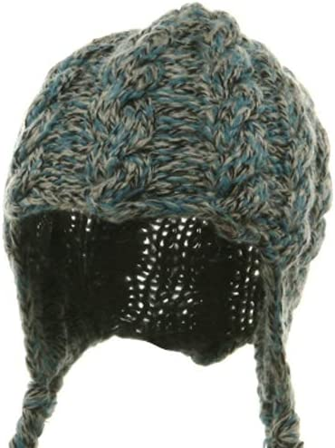 Wool Blend Youth Cable Helmet Hat Blue