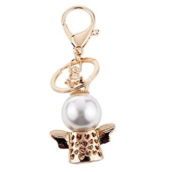 Prettyia Crystal Keyring Queen Crown Angel Pendant Key Finder Handbag Keyfobs Gold